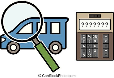 car and magnifying glass and electronic calculator