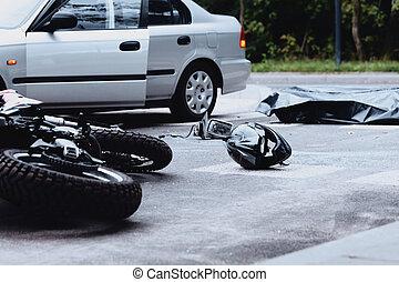 Car and motorbike crash
