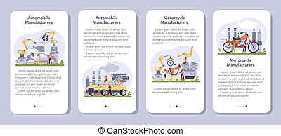 Car and motorcycle production industry mobile application banner