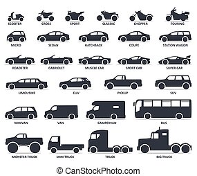 Car and Motorcycle type icons set. Title models moto and automobile