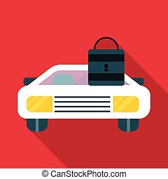 Car and padlock icon, flat style