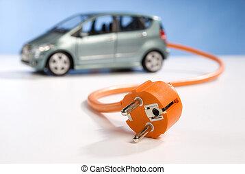 Car and plug - Car, power cable and plug