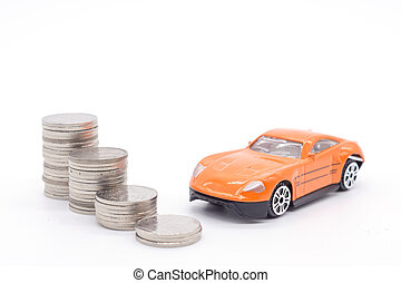 Car and stack coins on white background