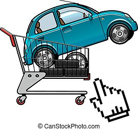 Car and tires in a shopping cart