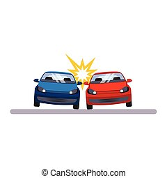 Car and Transportation Accident. Vector Illustration