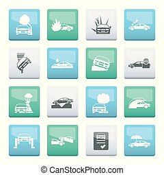 car and transportation insurance and risk icons over color background