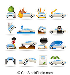car and transportation insurance and risk icons - vector...