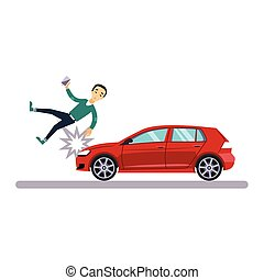 Car and Transportation Issue with a Pedestrian. Vector Illustration
