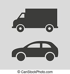 Car and truck icons on grey background.