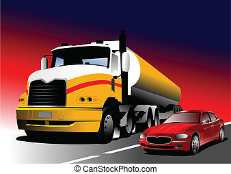 Car and truck on the road. Vector illustration