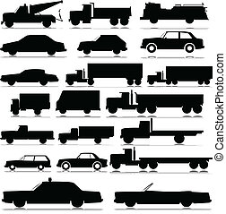car and truck vector silhouettes