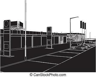 Car And Yacht Dealership Building Vector