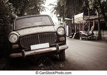 car, antigas, sujo, -fashioned, abandonado