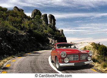 car, antigas, vermelho