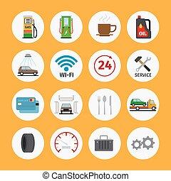 car, apartamento, serviço, ícones
