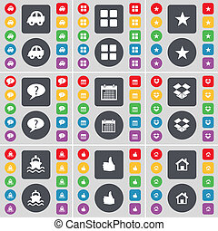Car, Apps, Star, Chat bubble, Calendar, Dropbox, Ship, Like, House icon symbol. A large set of flat, colored buttons for your design.