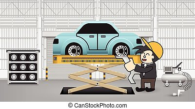 Car assembly - Machinist working with car in factory.
