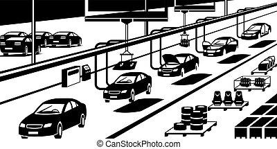 Car assembly line - vector illustration