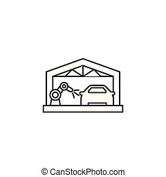 car assembly line vector line icon, sign, illustration on background, editable strokes