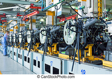Car assembly plant - Automobile assembly plant of engine...