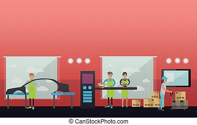 Car assembly plant vector illustration in flat style