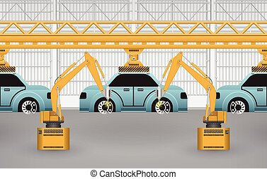 Robots are working with auto parts in factory.