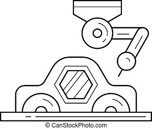 Car assembly with a robotic arm vector line icon.