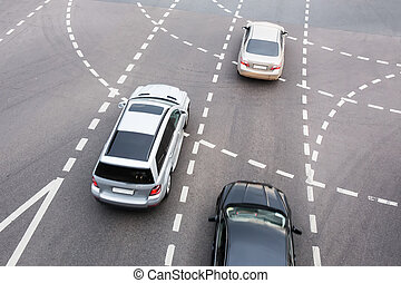 car at automobile intersection