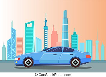 Car at Street of City, Cityscape with Buildings