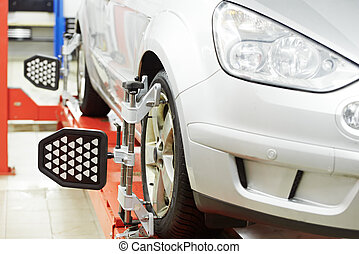 car at wheel alignment diagnostic tester - automobile car...