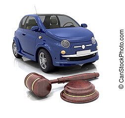Car auction - Hammer and gavel in front of a car