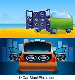 Car audio banner set, cartoon style