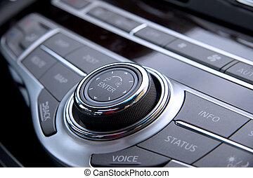 Car audio controls - Close up shot of luxury car audio...