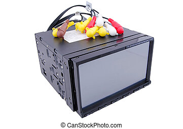Car audio with connecting wires on a white background