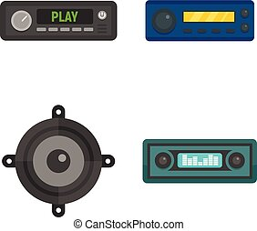 Car audio icons set, flat style
