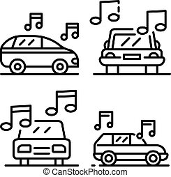 Car audio icons set, outline style
