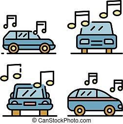 Car audio icons set vector flat