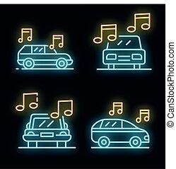 Car audio icons set vector neon
