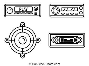 Car audio speaker icons set, outline style