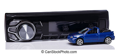 Car audio over white background