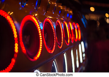 Car Audio. - Car Audio and the linght around the speaker.