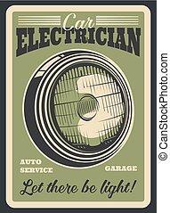 Car auto electrician service, headlight repair