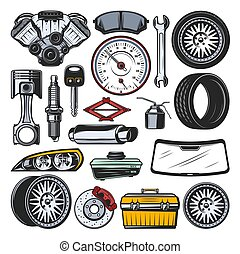 Car auto parts, engine, tires and tools - Car auto parts...