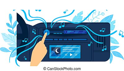 Car auto radio, music car, black modern background, audio stereo sound, player vehicle, design, cartoon style vector illustration.