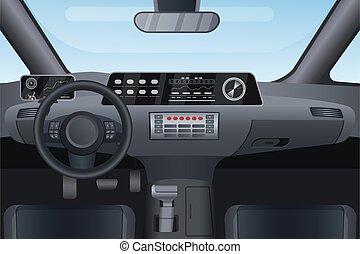 Car auto salon interior vector illustration, cartoon flat details of front automobile dashboard black panel, window windshield, rudder steering wheel background