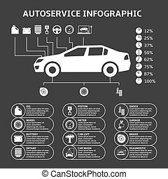 Car auto service infographics design elements with...