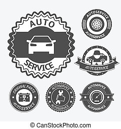 Car auto service labels badges emblems set isolated vector illustration