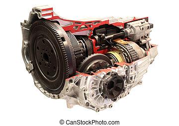 car, automático, gearshift, isolado, branco