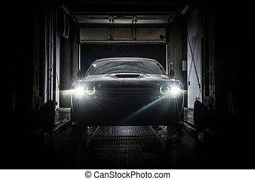 Car Automatic Wash at Night
