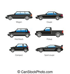 Car automobile body type names vector flat isolated icons...